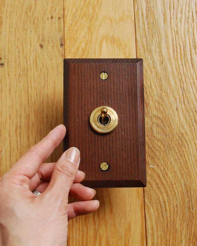 スイッチ・スイッチカバー 住宅用パーツ ウッドプレートスイッチ(シングルスイッチ) 。天然の素材で作られているため、色や木目に個体差が出ますのでご了承下さい。(sw-12)