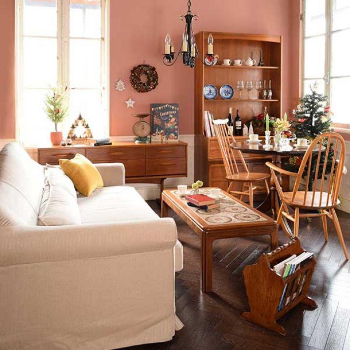 北欧ビンテージ家具とオシャレなソファ(アプリコットベージュ)