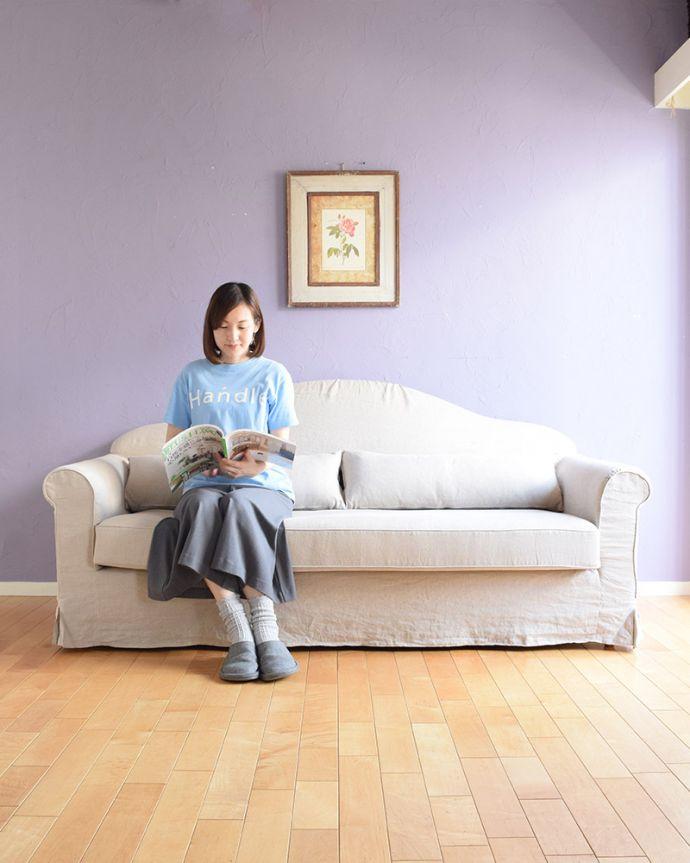 オリジナルソファ アンティーク風 お家の洗濯機で洗えるHandleオリジナルのリネンソファ。家族みんなで使える3人掛けのサイズ日本の職人さんが造ったソファは、ゆったり3人掛けのサイズ。(hos-100)
