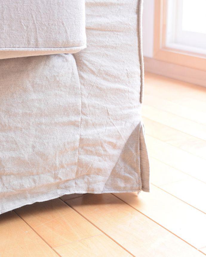 オリジナルソファ アンティーク風 お家の洗濯機で洗えるHandleオリジナルのリネンソファ。足元にも気を使って・・・脚先も優雅に。(hos-100)