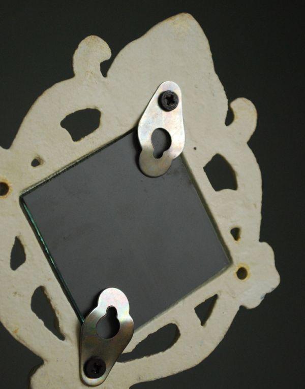 フック・フックボード 住宅用パーツ アイアン製アンティーク風WHミラーフック(菱形)。裏はこのようになっています。(u-769)
