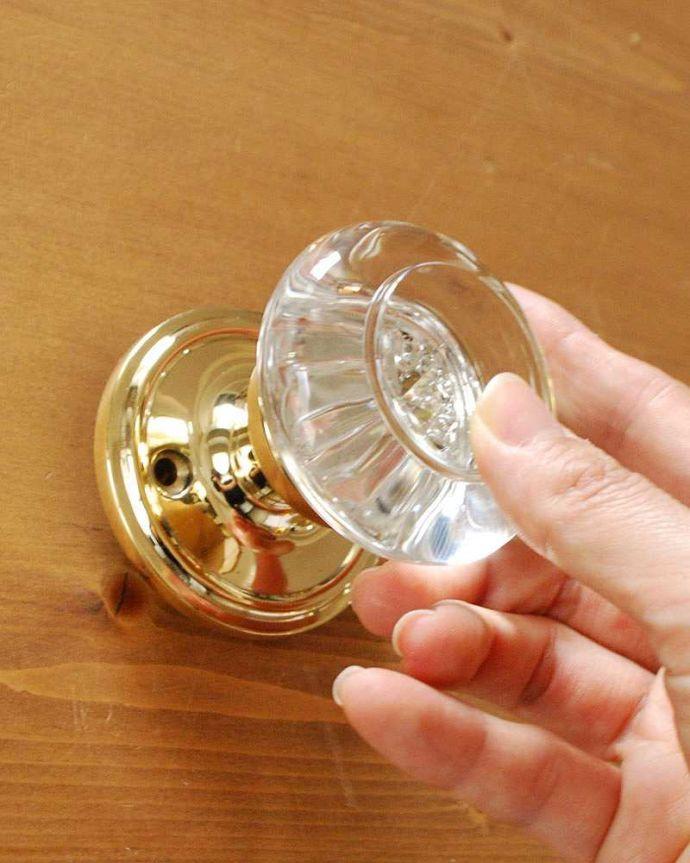 ドアノブ 住宅用パーツ 真鍮×ガラスドアノブ、内外用2個セット(ラッチ付)。対応するドア厚は37mm 〜 39mmです。(u-844)