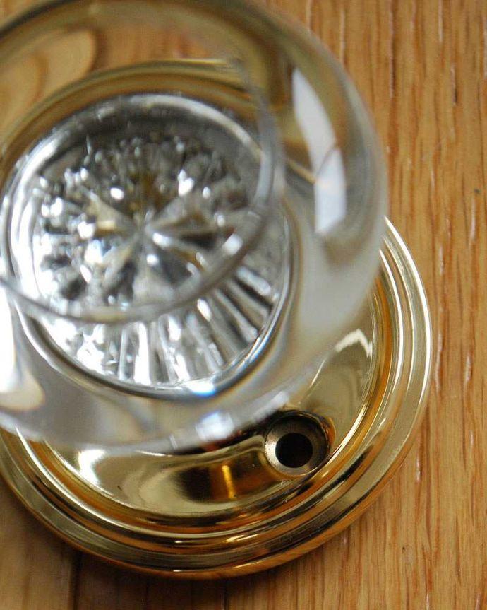 ドアノブ 住宅用パーツ 真鍮×ガラスドアノブ、内外用2個セット(ラッチ付)。真鍮は、時間と共に色が変化して味わいがでてくるのが特徴。(u-844)