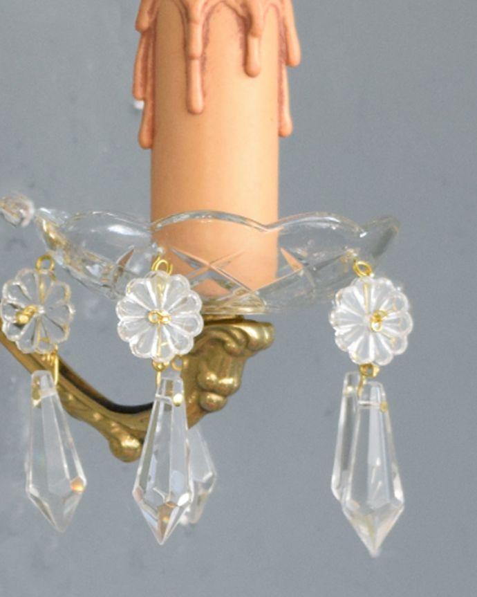 Handleオリジナル 照明・ライティング Handleオリジナルの壁付けシャンデリアG(E17シャンデリア球付)。1つ1つ手作りしていますシェードはアンティークと同じように、細い真鍮のピンを曲げて、一つ一つガラスのパーツを手作業で取り付けています。(wr-003-o)
