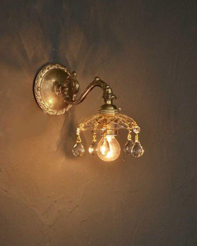 Handleオリジナル 照明・ライティング Handleオリジナルガラス皿のウォールシャンデリアA(アンティーク色・丸球付・ギャラリーなし)。夜が楽しみになる壁からの灯り点灯した時に壁に映るドラマティックな光の陰影を楽しむことが出来ます。(wr-090a-o)