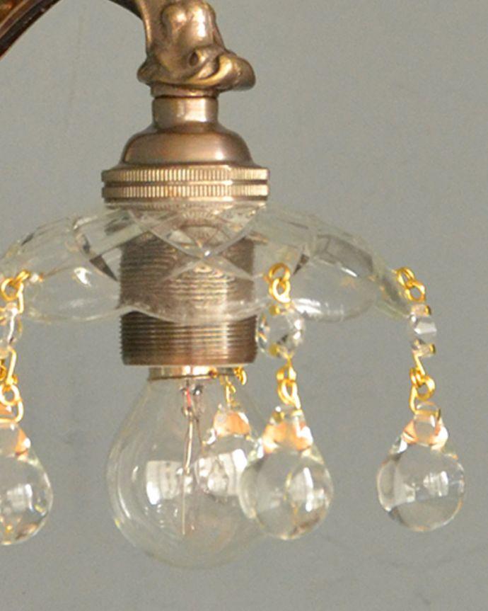 Handleオリジナル 照明・ライティング Handleオリジナルガラス皿のウォールシャンデリアA(アンティーク色・丸球付・ギャラリーなし)。1つ1つ手作りしていますシェードはアンティークと同じように、細い真鍮のピンを曲げて、一つ一つガラスのパーツを手作業で取り付けています。(wr-090a-o)