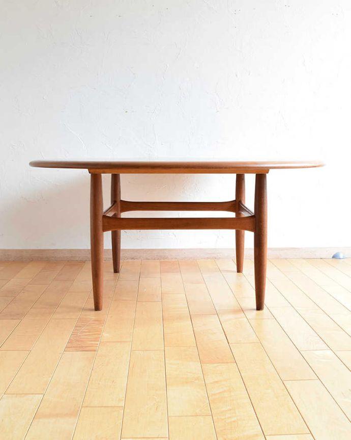 アンティークのテーブル アンティーク家具 座卓としても使えるヴィンテージ家具、北欧スタイルのコーヒーテーブル。横から見てみてもカッコいい!北欧スタイルのテーブルは、横から見てもやっぱりスマートでカッコいいんです。(x-1012-f)