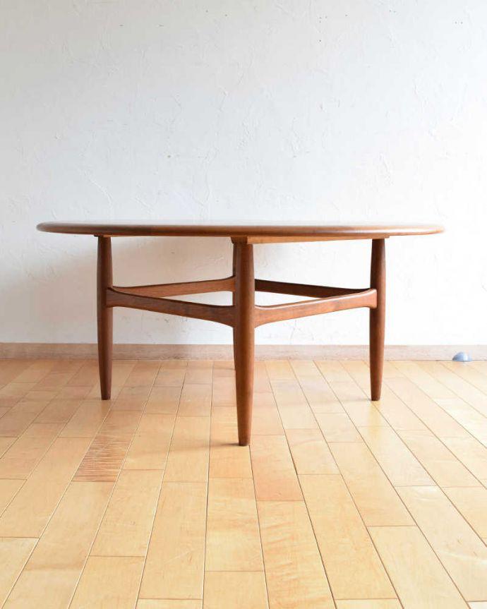 アンティークのテーブル アンティーク家具 座卓としても使えるヴィンテージ家具、北欧スタイルのコーヒーテーブル。360度、どこから見てもカッコいい!アンティークは新品ではないので、もちろん経年変化によるキズはありますが、専門の職人がしっかりお直しをしているので、どの角度から見てもキレイです。(x-1012-f)