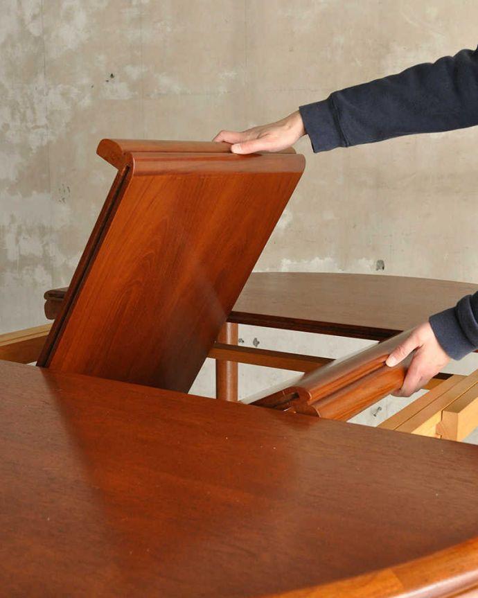 x-1183-f ビンテージダイニングテーブルの伸張方法