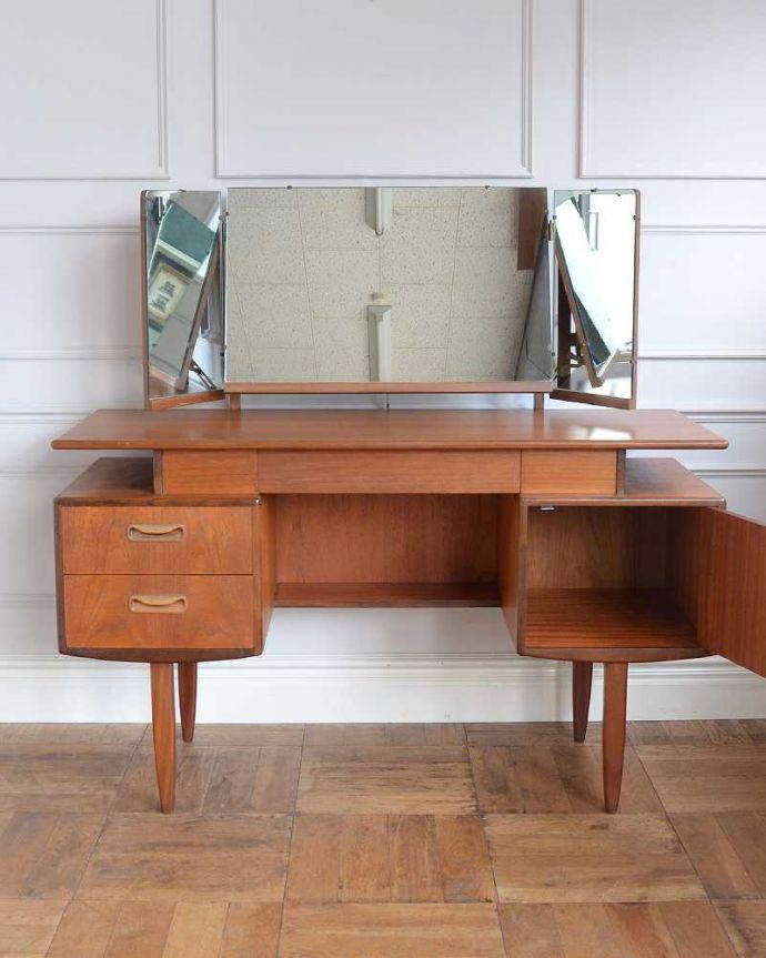 x-1187-f アンティークドレッシングテーブルの内部