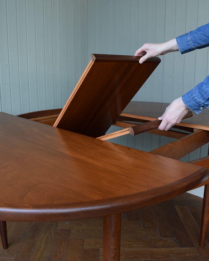 x-1307-f ビンテージダイニングテーブルの伸張方法
