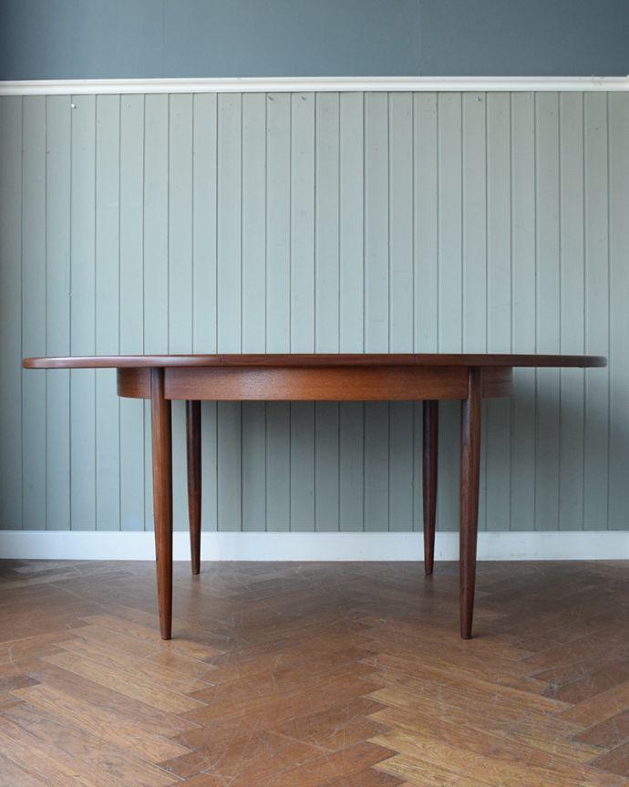 x-1307-f ビンテージダイニングテーブルの横(開いた状態)