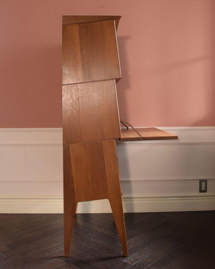 ビューロー アンティーク家具 ビューローキャビネット 横から見てもスッキリどこから見てもスッキリとしてステキなヴィンテージ。(x-1359-f)
