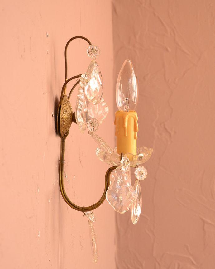 壁付けブラケット 照明・ライティング フランスアンティークの壁付けシャンデリア(E17シャンデリア球付)。。(x-667-z)