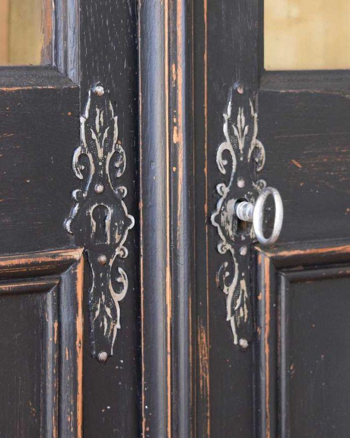 x-983-f アンティークガラスキャビネットの鍵穴