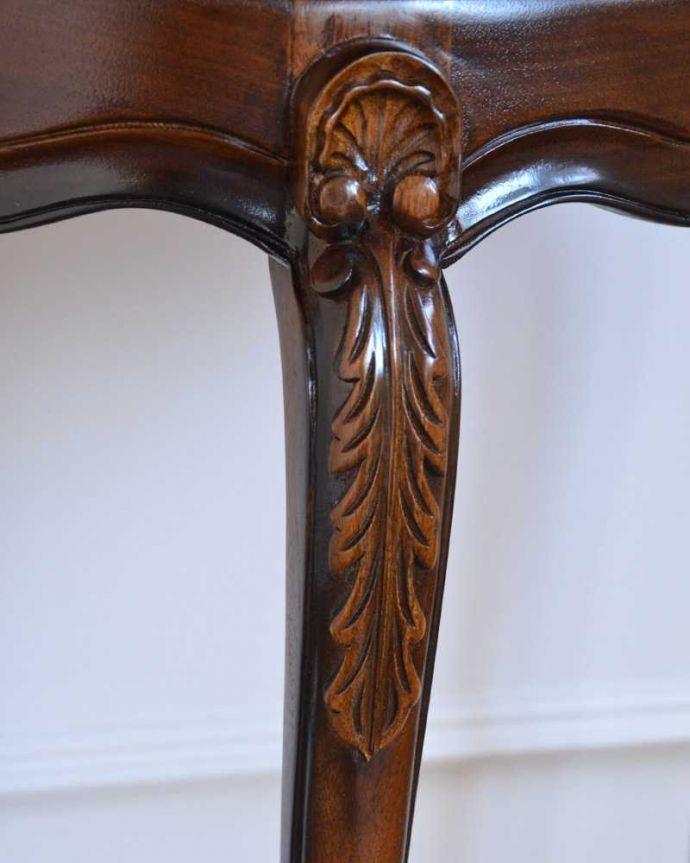 y-113-f アンティーク風コンソールテーブルの彫り