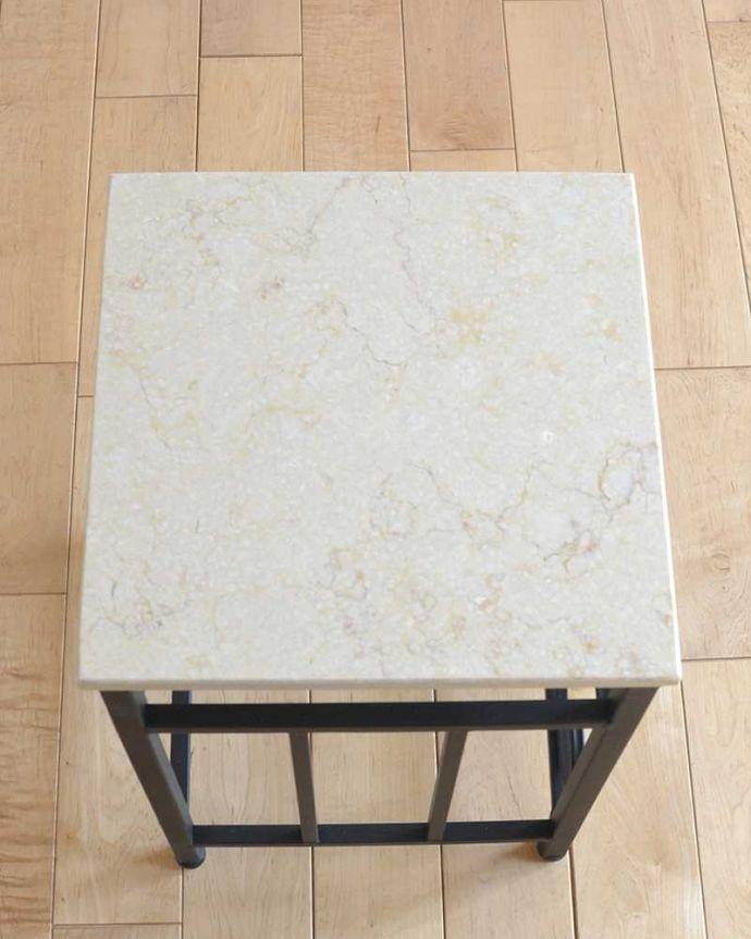 y-230-f 大理石風天板×アイアンフレームのサイドテーブル(花台)の天板