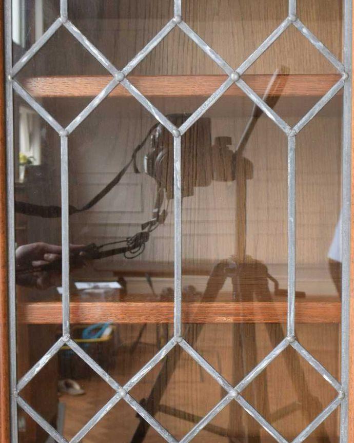 y-267-f アンティーク風ガラスキャビネット(食器棚)のガラス戸