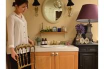 フレンチマカロンスタイルの洗面所には、やっぱり色!ガラスビーズがとても似合うので、いろんな場所で使ってみてください。