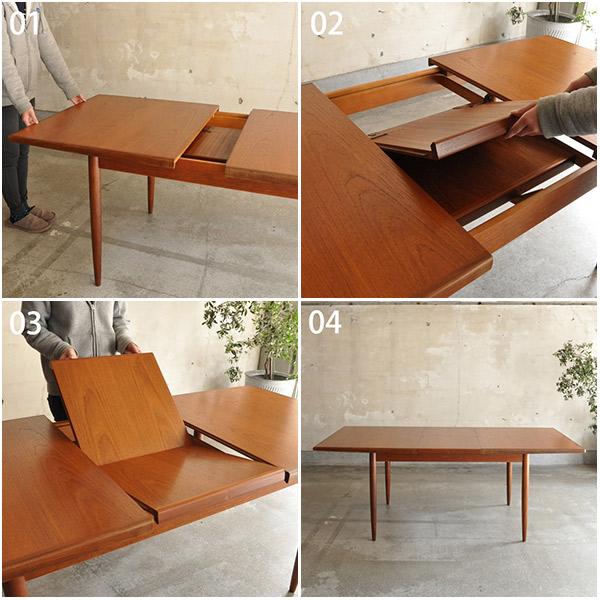 エクステンションテーブルの天板の開き方