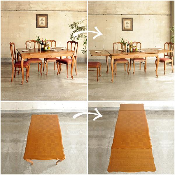天板の大きさが変わるフランスのアンティークドローリーフテーブル