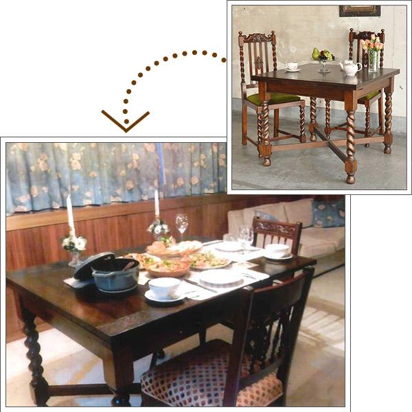 伸び縮みするアンティークのドローリーフテーブルを使ったダイニング