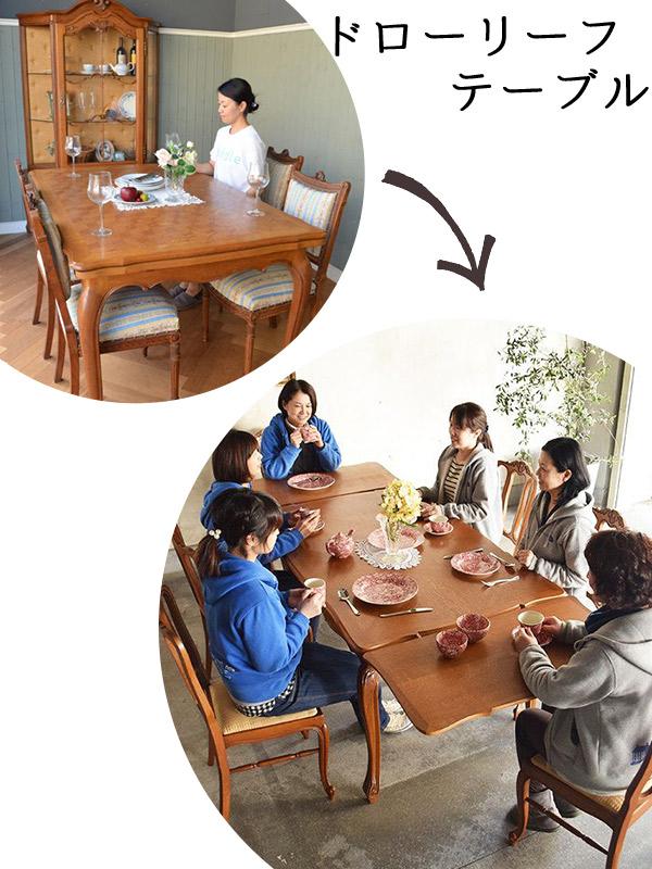 アンティークの伸び縮みするテーブル、ドローリーフテーブル