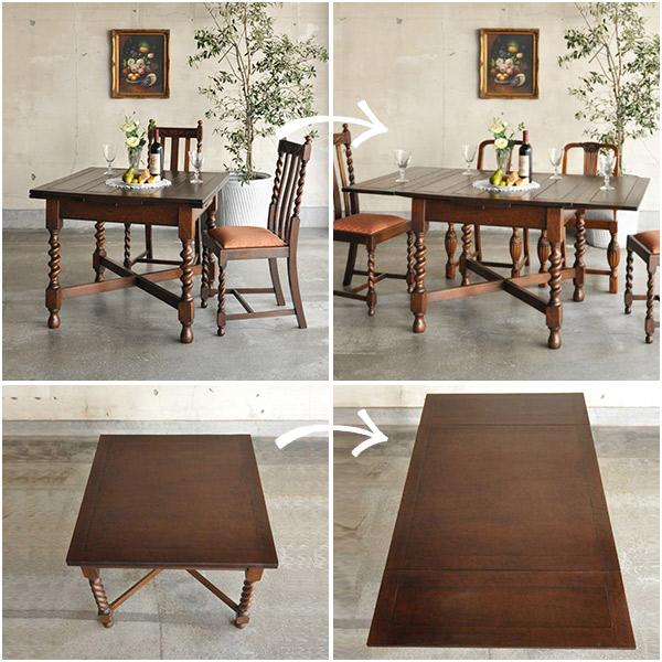 天板の大きさが変わる英国のアンティークドローリーフテーブル