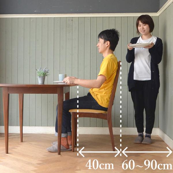 ダイニングテーブルに座っている人の後ろを通る場合に必要なスペース
