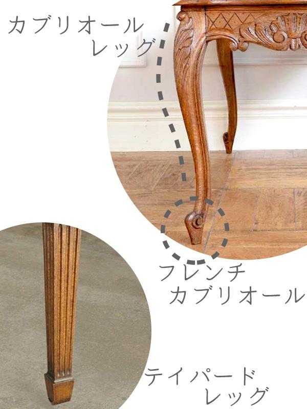アンティークの脚のデザイン、カブリオールレッグ・フレンチカブリオールレッグ・テイパードレッグ