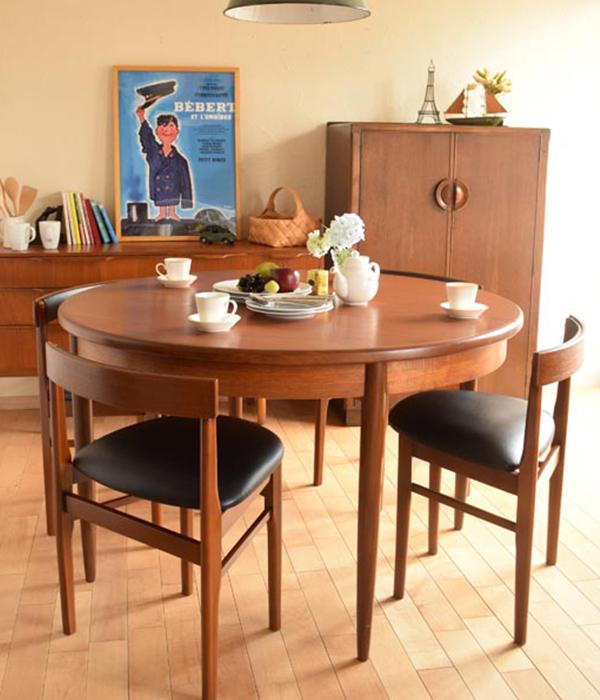 北欧ビンテージスタイルのダイニングテーブル×北欧チェア