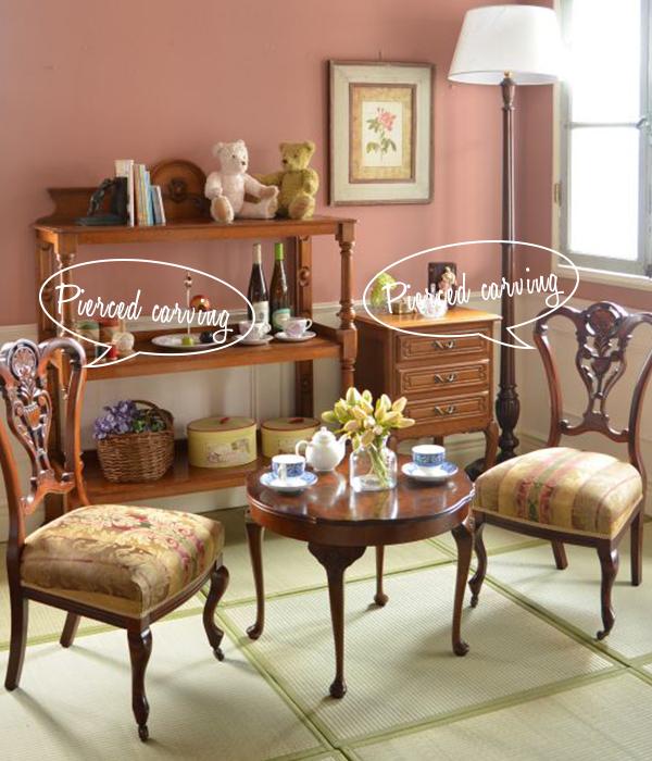 透かし彫りの家具を使った和室