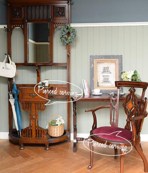 透かし彫りの家具を使った玄関