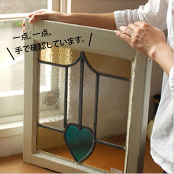 アンティークステンドグラス、木枠