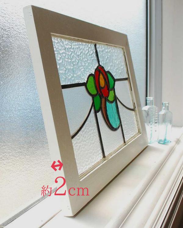 アンティークステンドグラス、新しく作られた木枠