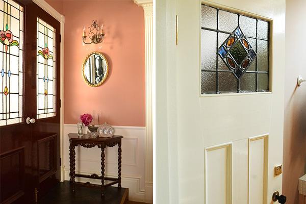 アンティークステンドグラス、新築やリフォームでドアへ入れる