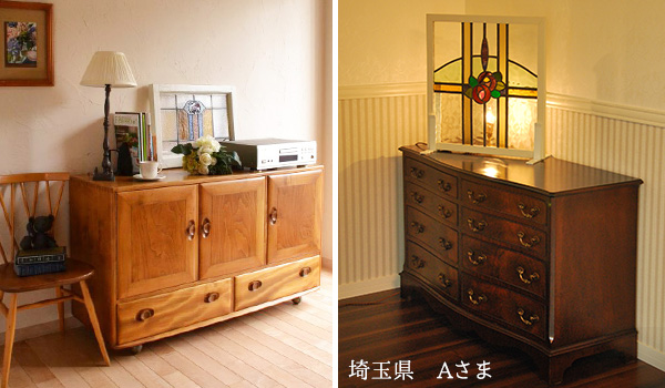 アンティークステンドグラス、家具の上にステンドグラスを置く