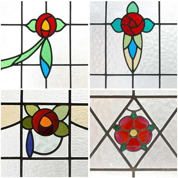 アンティークステンドグラス、薔薇の花の模様