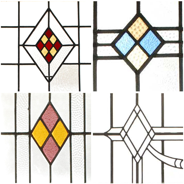 アンティークステンドグラス、直線的な幾何学模様のアールデコ