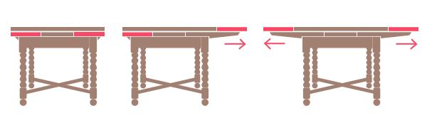 ドローリーフテーブルの開き方