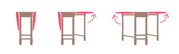 ゲートレッグテーブルの開き方」