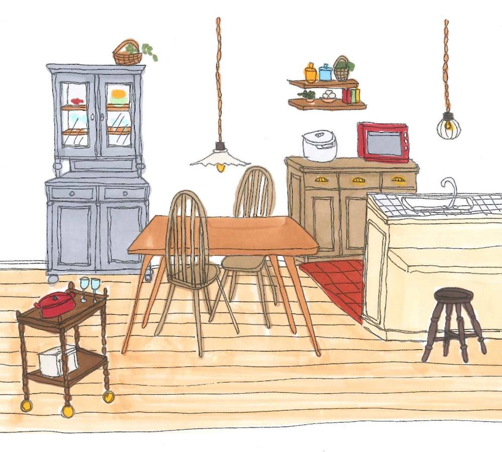 ダイニングやキッチンで使われているテーブル