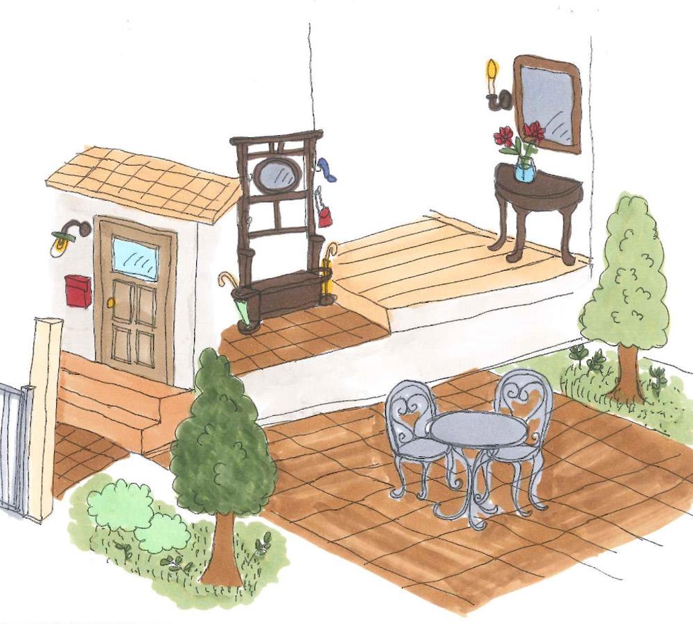玄関やお庭で使うテーブル