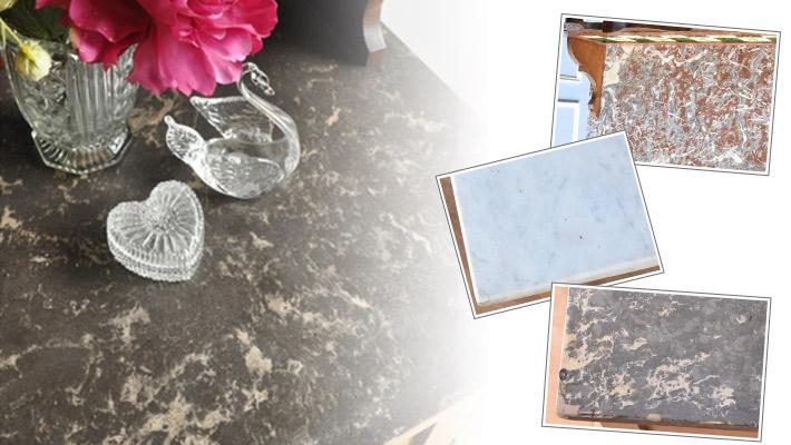 アンティーク家具 ウォッシュスタンド 発見2天板に使われている美しい天然の大理石