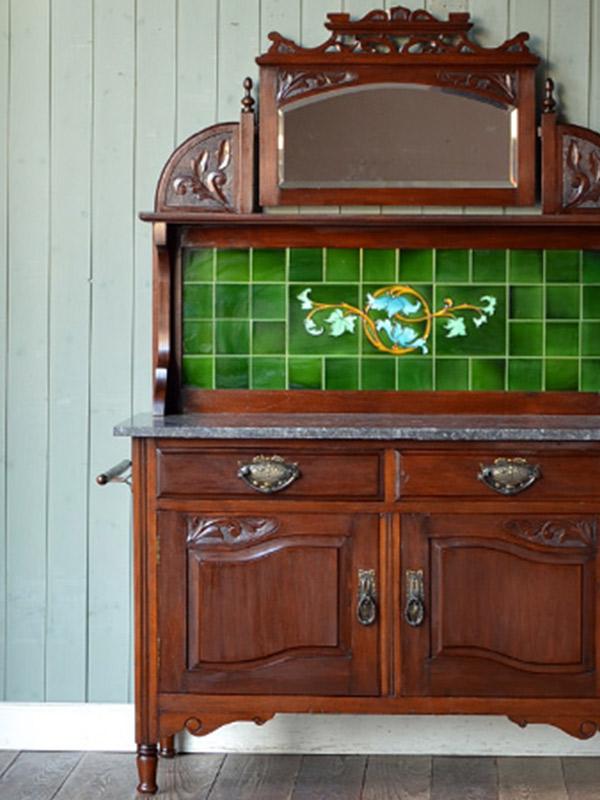 アンティーク家具 ウォッシュスタンド グリーンのタイルのウォッシュスタンド