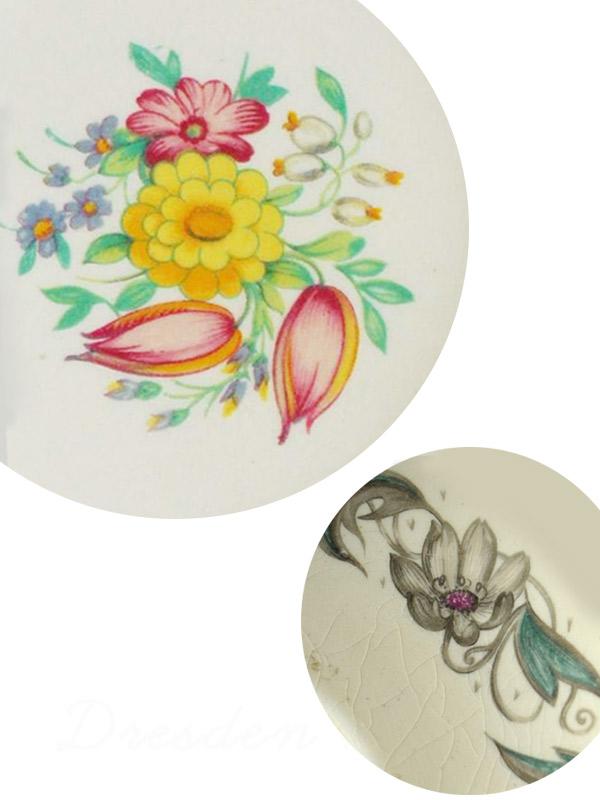 スージークーパーのお花が描かれた陶磁器