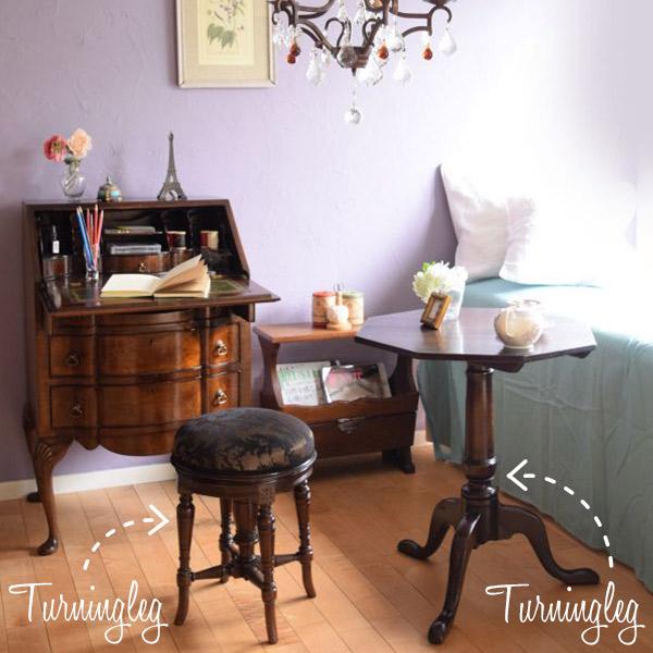 ターニングレッグの家具を使った寝室