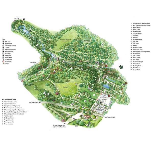 イギリスの北ウェールズにあるボドナント・ガーデン
