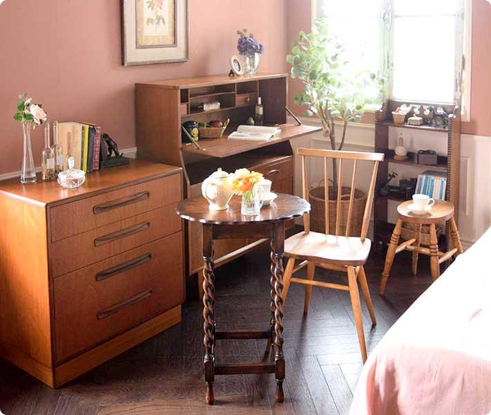 北欧ビンテージ家具を使った寝室