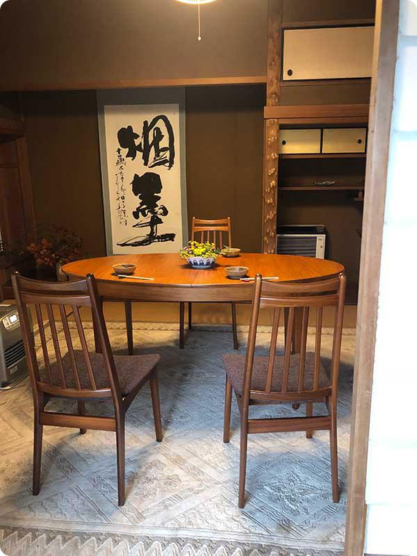 滋賀県Mさまの北欧ビンテージのダイニングテーブルと椅子